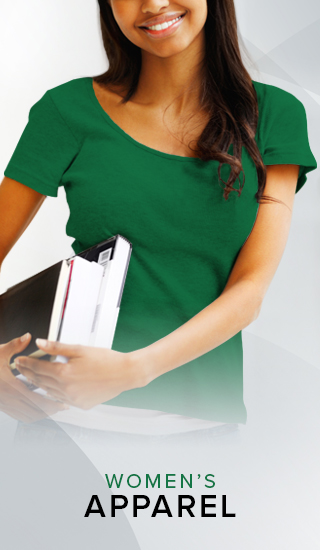 A picture of a smiling woman holding textbooks. Click to shop Women's Apparel.