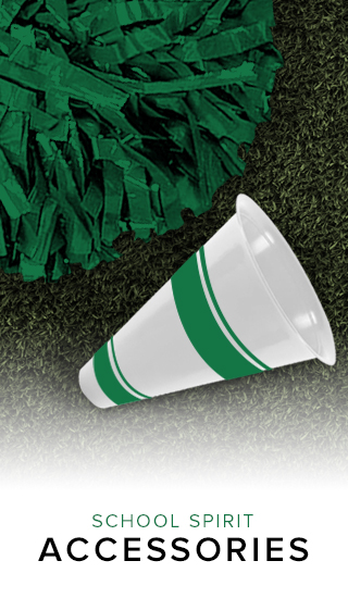 Picture of pom pom and megaphone. School Spirit accessories. Click to shop.